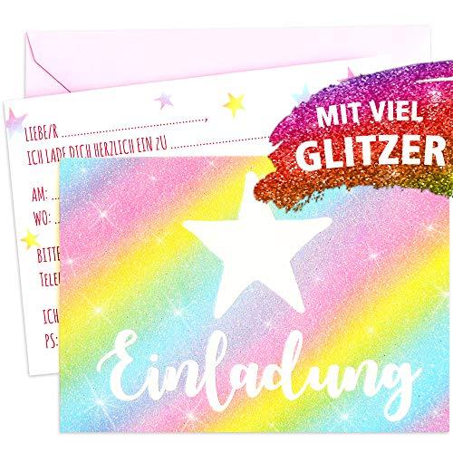 10 Bunte Glitzernde Stern Einladungskarten inkl. rosa Briefumschlägen plus 3 Ballons mit Sternen zum Geburtstag Party Übernachtungsparty Kindergeburtstag Kinderparty