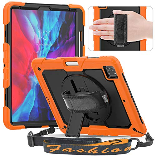 Timecity Case Compatible with iPad Pro 12.9 Inch 2020 & 2018 with Screen Protector Pencil Holder [Supports Pencil 2 Wireless Charging] Rotating Stand Hand/Shoulder Strap Rugged Durable Cover-Orange