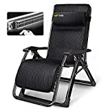 JALAL Garden Reclining Sun Lounger Chair For Heavy Duty People, Oversized Padded Chair, Adjustable and Foldable, Black Support 330 Lbs