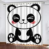 XKSJWY Cortinas Habitacion Dormitorio 3D Panda De Moda Lindo Patrón Cortinas Opacas Termicas Aislantes Frío Y Calor Reduccion Ruido Proteccion Intimidad para Hogar, 2 Paneles 240X230Cm