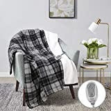 MP2 Heated Plush Sherpa Throw - Electric Blanket for Lap w/ 3 Heating Levels & 2 Hours Auto Shut Off, UL Certified Safe, Machine Washable - 50'x 60', Grey/Black/White Plaid