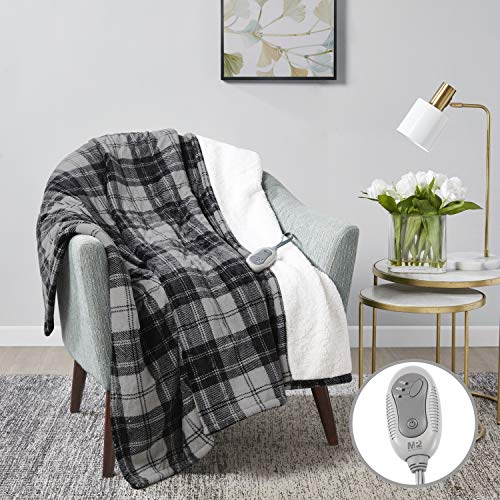MP2 Heated Electric Sherpa Throw Blanket with 3 Heat Settings and 2 - Hour Auto Shut Off 50' x 60' Grey/Black/White Plaid