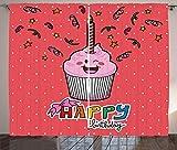 ABAKUHAUS Kids Rustikaler Vorhang, Rosa Cupcake Konfetti Bogen, Wohnzimmer Universalband Gardinen mit Schlaufen und Haken, 280 x 260 cm, Mehrfarbig