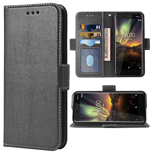 Phone Case for Nokia 6.1   Nokia 6 2018 Folio Flip Wallet Case,PU Leather Credit Card Holder Slots Full Body Protection Kickstand Hard Hybrid Protective Phone Cover for Nokia6.1 TA-1045 Cases Black