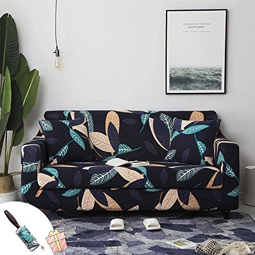 HFTYCC Thicken Funda para sofá Funda para sofá elástica-Poliéster Spandex Funda para sofá Estampada/ Protector para sillón con Fondo-2 plazas_Leaves