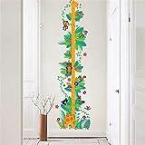 GVC CVG Bella Scimmia Giraffa Fiore Altezza Misura Adesivi murali per camerette Decorazioni per la casa Cartone Animato Crescita Adesivi murali Arte murale