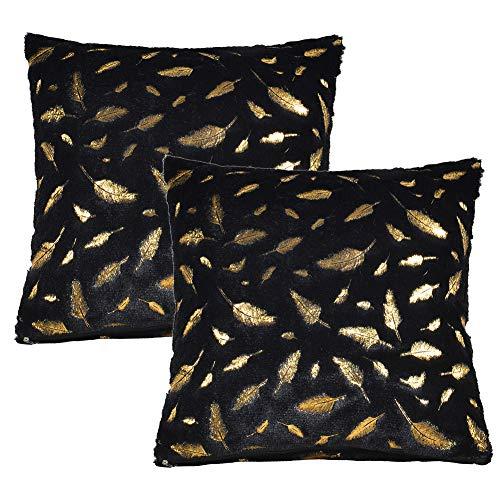 JOTOM Feder Plüsch Wurfkissen Bezug, Gold Fell Dekokissen Kissenhülle für Couch Sofa Home Bett Büro Deko, 40 x 40 cm, 2er Set