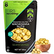 Freshly Roasted & Salted Macadamia Nuts (80oz - 5 Pound) Packed Fresh in Resealable Bag - Trail Mix Snack - Healthy Protein Food, All Natural, Keto Friendly, Vegan, Kosher