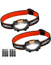 OMERIL LED-hoofdlamp, [2 stuks] Superheldere koplampen met 3 standen, 150 lumen, lichtgewicht COB-koplampen voor kinderen Hardlopen Wandelen Kamperen Vissen, doe-het-zelf 6 * batterijen inbegrepen [Energieklasse A ++] [Energieklasse A ++]