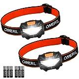 OMERIL Torcia Frontale LED, Lampada da Testa Leggera(2 Pezzi),Super Luminosa con 3 modalità, Risparmio Energetico COB, Luce di Testa per Bambini, Campeggio, Escursioni, Pesca(6 Batterie Incluse)
