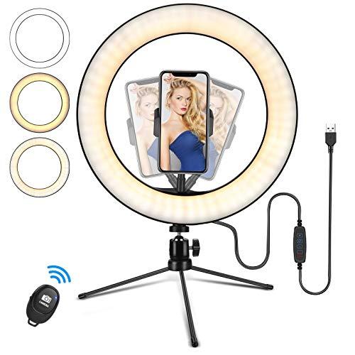 10' Ringlicht mit Stativ, LED Selfie...