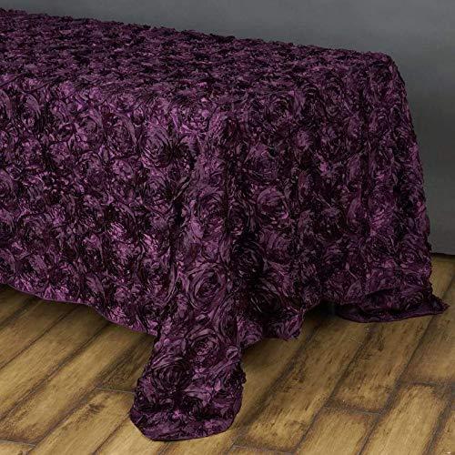 """Efavormart 90""""x156"""" Eggplant Wholesale Grandiose Rosette 3D Satin Tablecloth for Wedding Party Event Decoration"""
