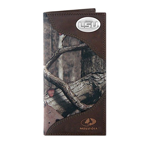 NCAA LSU Tigers Zep-Pro Mossy Oak Nylon and Leather Secretary-Style Roper Concho Wallet, Camouflage, One Size