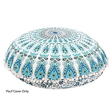 Aakarshan 32  Puff White Blue Mandala Floor Pillow Cushion Seating Throw Cover Hippie Decorative Boho This is a Cover only