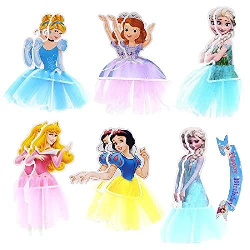 Princesa Decoracion Tarta, Frozen Cupcake Toppers, Temática Princesa En Forma de Pastel Toppers, Inserto de Pastel de Princesa, Lindo Congelado Decoraciones para Fiestas de Cumpleaños, 13 pcs