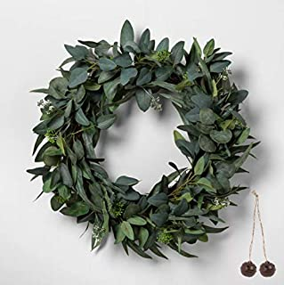 Hearth & Hand Faux Seeded Eucalyptus Wreath with Bonus Rustic Jingle Bells Ornament