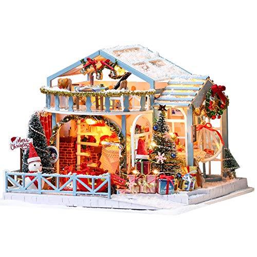 HYE Casa de Navidad Casa de Madera Muñecas de Madera Juguetes DIY Dollhouse Juguetes educativos Mano montada Modelo de Edificio con Muebles LED Iluminación, Regalos de cumpleaños para niños