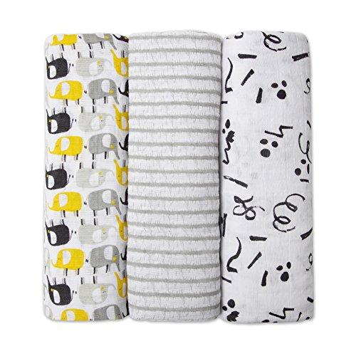 Zutano Organic Cotton Muslin Swaddles, Swaddling Blankets for Babies, Gray Elephants & Doodles, One Size