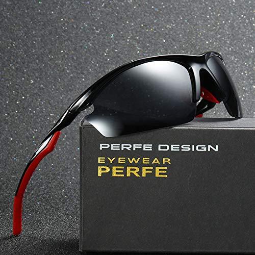 MIMIOOORE Hombre en Gafas de Sol Deportivas con el Caso de la protección UV400 de conducción Ciclismo Running Pesca Golf Semi-sin Montura Estilo polarizado (Color : Red)