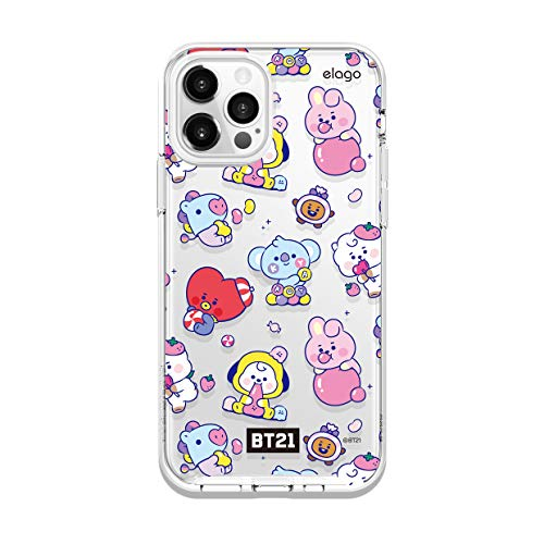 elago BT21 Hybrid Case Compatible with iPhone 12, Compatible with iPhone 12 Pro 6.1 Inch, Durable Full Body Protection, Raised Lip (Screen & Camera Protection) [Official Merchandise] [7 Flavors]