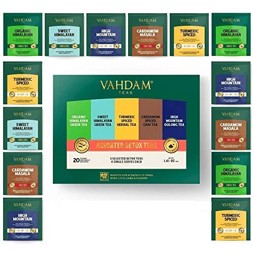 VAHDAM, Assortierte Detox Teebeutel - 20 Detox Teebeutel | Reich an Antioxidantien und Flavonoiden | 100 natürliche | Muttertagsgeschenke Ideen | Muttertagsgeschenk
