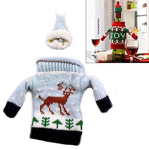 Weihnachtsgeschenk Jungen Weihnachten GiftsGirlPer Weihnachten Deer Pullover Cloth Artabendessen Tischdekoration Champagne Weinflasche Tasche Geschenk, Körpergröße: 18cm x 13cm Cute patterns: Green Ch