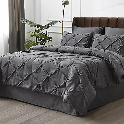 Bedsure Grey Twin Comforter Set - Bed in A Bag 6 Pieces, Pinch Pleat Bedding Comforter Set for Twin Bed with Sheets
