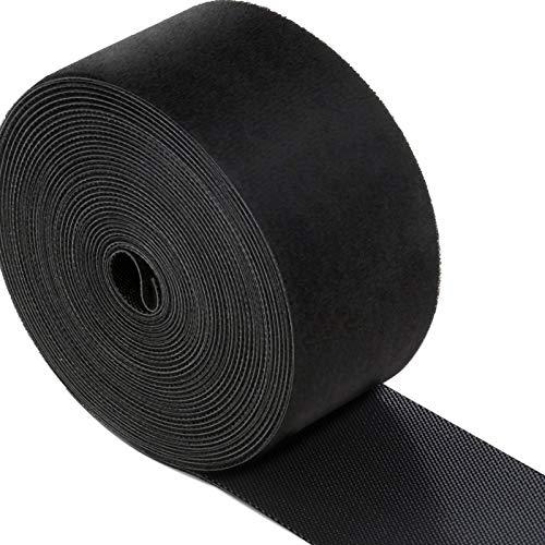 LEOBRO マジックバンド 結束テープ 50mmx6m 幅広 超ロング ブラック マジック結束バンド 面ファスナー 強力 耐熱 ケーブル コード 配線等まとめ用 荷物梱包 屋外用