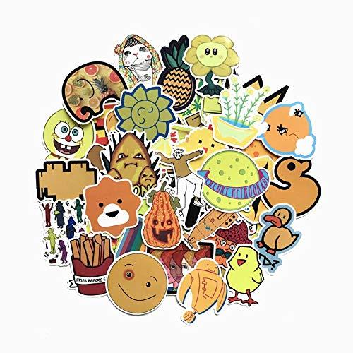 RSZHHL Sticker de Carro 70 Uds, Pegatinas de Animales de Dibujos Animados Amarillos para Equipaje, Maleta, Nevera, monopatín, portátil, teléfono, Coche, Estilo, Pegatina DIY