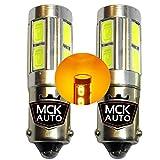 MCK Auto - Sostituzione per LED CanBus H6W BAX9S Set di lampadine arancioni molto chiare e senza errori