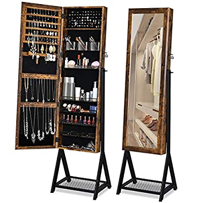 YITAHOME Jewelry Armoire Organizer Free Standing 3-in-1 Lockable Jewelry Cabinet with Mesh Shelf Metal Frame, Full-Length Mirror, 60 in High Large Capacity, 2 Plastic Cosmetic Storage