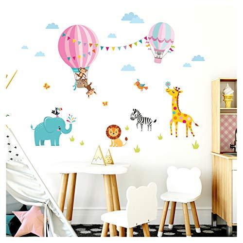 Little Deco sticker kinderkamer meisjes dierentuin dieren in heteluchtballon II muurschilderingen Muurtattoo hart dieren deco sticker DL342 L - 132 x 87 cm (BxH)