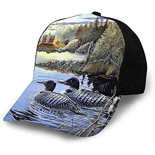 Egoa Sombrero Snapback Art Desgin Loon Lake Wild Duck Pareja Hiphop Pesca Personalizada Papá Sombrero Diseño Especial Moda Gorra De Béisbol Trucker Hat Acogedor Duradero Adulto Unisex