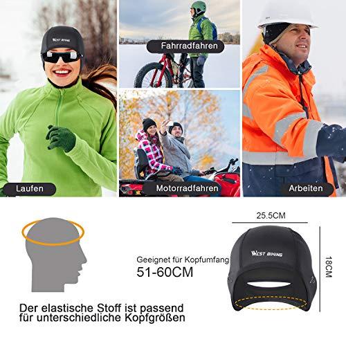 WESTGIRL Fahrrad Mütze, Skull Cap Bike Warm Cap für Herren Damen, Winddicht Thermal Fleece Atmungsaktiv, Wintersport Mütze Kopfbedeckung für Laufen, Radfahren, Skifahren - 5