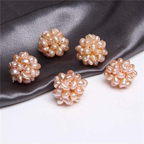 KUQIQI El Encanto de 2 Bolas de Flores de Perlas de Agua Dulce Naturales cultivadas en Blanco Hecha a Mano con Cuentas de Perlas pequeñas, usadas para Hacer Joyas.