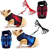 2 Pieces Guinea Pig Harness and Leash Soft Plaid Small Pet Harness with Safety Bell Adjustable No Pull Comfort Padded Walking Vest for Ferret Chinchilla and Similar Small Animals (Red, Blue, S)