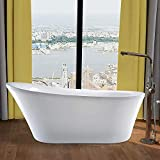 70 freestanding tub - Vanity Art 70 Inches Freestanding White Acrylic Bathtub UPC certified Modern Stand Alone Soaking Tub with Polished Chrome Round Overflow and Pop-up Drain VA6839