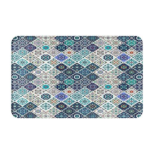 MJIAX Alfombras de baño, alfombras de baño,Azulejos de Mosaico de Azulejos Mixtos históricos portu, Alfombras de Felpa Alfombras Felpudo Suave y Duradero Alfombras decoración Antideslizante