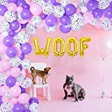 Dog Theme Party Balloon Garland Arch Kit for Girls, Woof Paw Print Balloons for Birthday, Baby Shower Party Supplies
