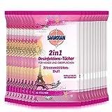 Sagrotan - Toallitas desinfectantes 2 en 1, aroma de flores de limón, edición limitada, 16 unidades (16 x 10 unidades)