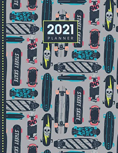2021 Planner: Urban Grunge Skateboard Pattern on Gray / Daily Weekly Monthly / Dated 8.5x11 Life Organizer Notebook / 12 Month Calendar - Jan to Dec / ... Cover / Cute Christmas or New Years Gift