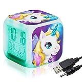 Unicornio Despertador Infantil Relojes de alarma digitales para niñas, LED de noche que brilla intensamente Reloj LCD con luz para niños Despertar Reloj de cabecera (6)