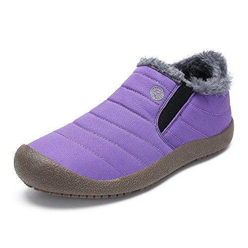 SAGUARO® Herren Damen Winterschuhe Warm Gefütterte Boots Stiefelette Outdoor Schneestiefel Winter Schuhe,Low top lila,42 EU