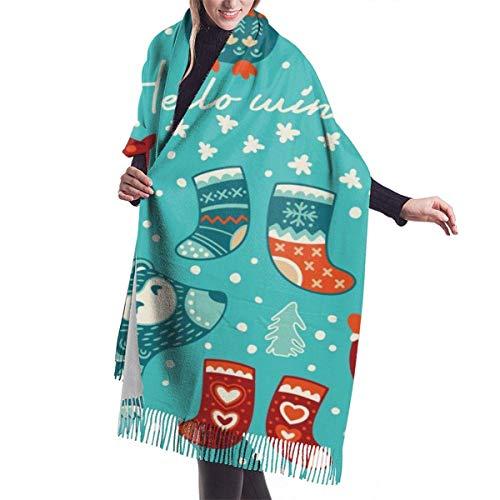 Winter Schal Damen Warm Baumwolle Santa Deer Owls Badger für Weihnachtskarte Pashmina Schals mit Quasten/Fransen