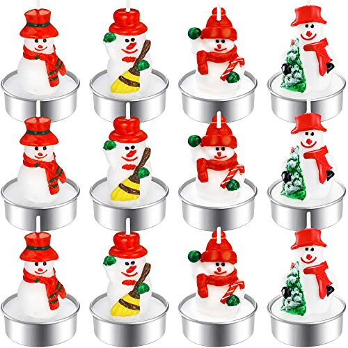 12 Stücke Weihnachten Teelicht Kerzen Handgemachte Zarte Schneemann Kerzen für Weihnachten Haus Dekoration