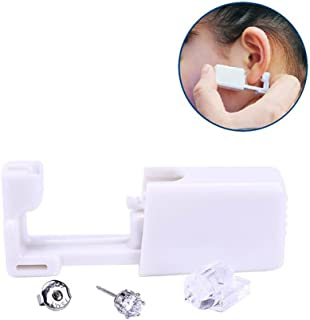 2PCS Disposable Ear Puncturing Tool Healthy Safety Asepsis Ear Navel Lips Nose Body Ring Piercing Tattoo Gun Kit with Stainless Steel Ear Studs(White)