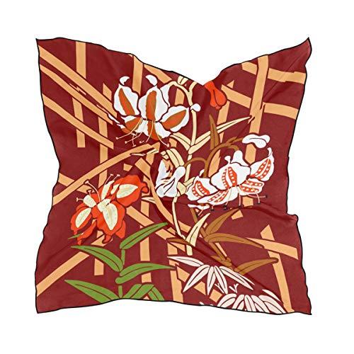 MONTOJ Schöner Lilien-Schal für Damen, quadratisch, Seidenmaterial