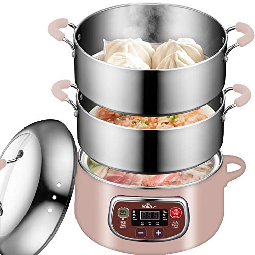 Bear Electric Food Steamer,Stainless Steel Digital Steamer, 3 tier 8L Large Capacity Vegetable Steamer, Auto Shut-off & Anti-dry Protection, DZG-A80A2,1200W