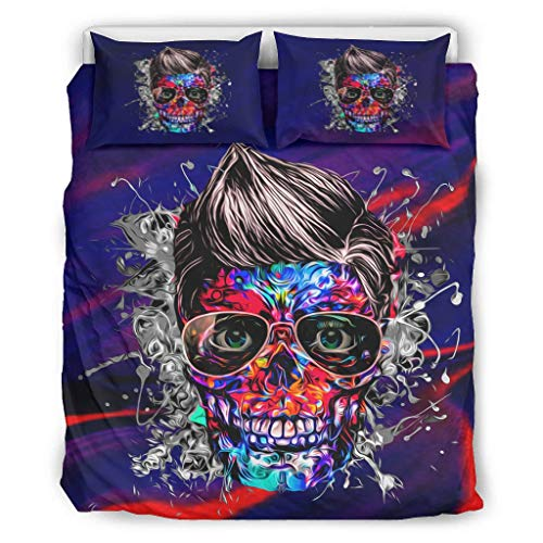 BBOOUAG Conjuntos retro 3 piezas almohada cráneo confort hogar europeo patrón negro color decorativo cama almohada conjunto blanco 90x90 pulgadas