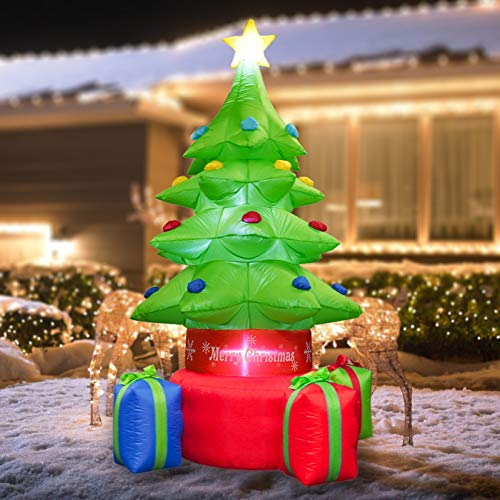 FUNPENY 7 FT Christmas Inflatable Christmas Tree, Indoor Outdoor Inflatable Christmas Decorations with Built-in LEDs, Christmas Blow up Decor for Yard Lawn Patio Garden Xmas Holiday Party